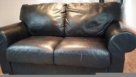 Sofa: black leather 2 seater