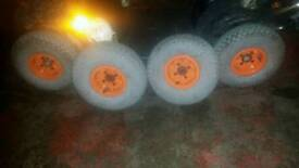 Set of 4 complete wheels for mobilty scooter