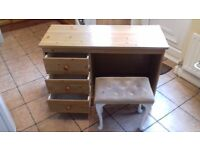 Three drawer dressing table and stool
