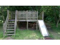 Wooden Playground with slide.