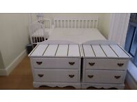 Lovely pair of sturdy white vintage shabby chic drawers