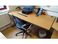 2 beech office desks (1600 by 800) - excellent condition