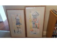 Two large framed original signed pictures by Paula A Yonner