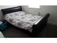 Double bed frame - Brown Faux Leather