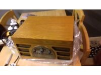 retro record cd radio cassete player, wooden
