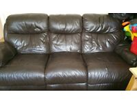 Real leather brown recline 3 seater sofa suite quick sale
