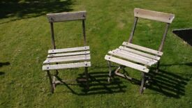 pair of Victorian garden chairs