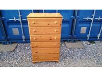 LARGE PINE 6 DRAWER CHEST OF DRAWERS
