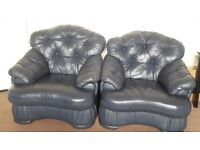A navy blue sofa set 3+1+1