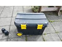 Used large Stanley tool box with wheels and handle