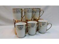 6 X GOLD VERSACE DESIGN TEA/COFFEE MUGS