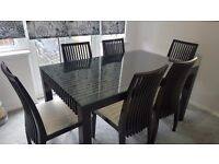 DARK BROWN/BLACK DINING TABLE WITH 6 CHAIRS