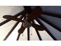 Ceiling Fan/Light. Wooden appearance