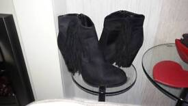 Fringed Black Suede Effect Boots