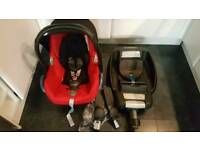 Maxi cosi car seat + isofix base + icandy stroller adapters + rain cover 0+ 1 group £300 when new