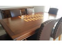 Mahogany Dining Room Suite, Table with 6 Leather Chairs, Sideboard and Console Table.