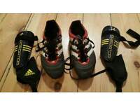 For sale are pair of the Adidas football boots and Adidas Predator shinguards.