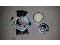 Baby gift. Photo frame and trinket box