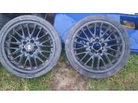 Bmw 18 inch alloys set 4 good winter Tyres