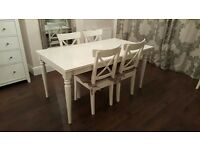 Shabby chic white dining table set - IKEA