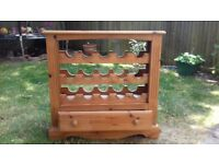 Pine wine cabinet.