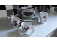 tea cups, saucers, dinner plates and bowls. Modern vintage look, wedding, tea party, china crockery