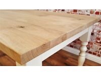 Rustic Kitchen Chunky European Oak Dining Table Natural Farmhouse Finish Full Stave - Any Size