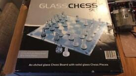 Glass chess set as new