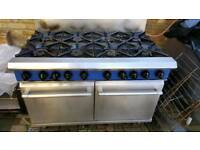 Blue seal 8 burner double oven heavy duty commercial cooker refurbished