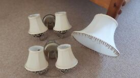 Wall lights (2) and lampshades