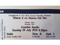1x VIP Blame it on Bianca Del Rio Ticket