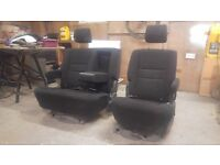 Black Camper Van Swivel Double & Captain Seat VW T4 T5 Transit Sprinter tables