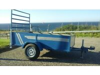 6x4 car trailer with ramp back door and prop stands in good condition