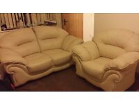 Cream LEATHER sofa set 2 seater and armchair