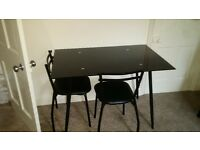 Black glass table & 2 Chairs
