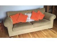 Large two and three seater fabric sofas (suite)