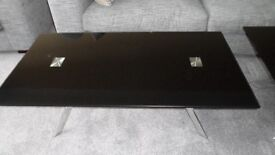 Beautiful Black Glass and Metal Coffee Table and Side Table