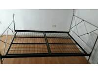 Double metal frame bed