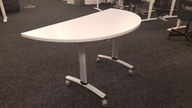 semi circle tables in white. BARGAIN