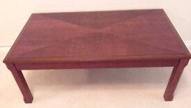 Coffee Table Solid Wood Mahogany W48 Inches D27 Inches H18 Inches Excellent Condition
