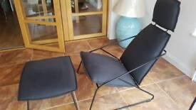 Ikea Black Seat + Stool Like new