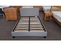 Ex Display Julian Bowen Rialto Grey Fabric Double Bed **CAN DELIVER**