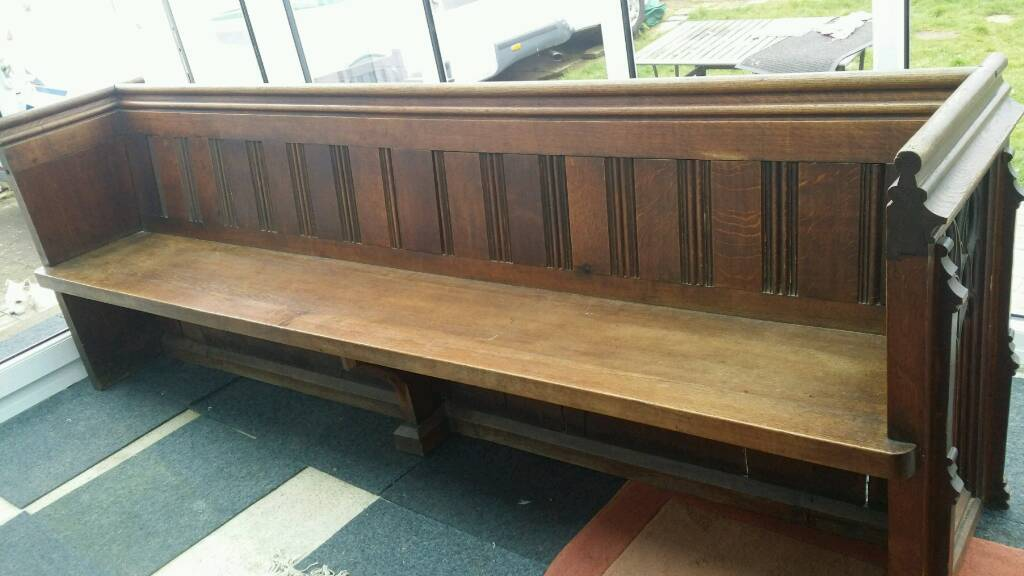 style pugin oak for solid church f l bench condition s priests id settle seating sale excellent furniture benches gothic antique pew in
