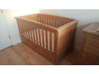 Solid wood cot bed including two mattresses and two matress protectors