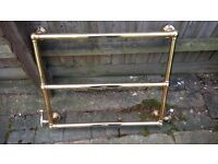 GOLD PLATED HEATED TOWEL RAIL/RADIATOR. KEELING LTD. 66 CM HIGH. 95CM WIDE TO END OF TAPS