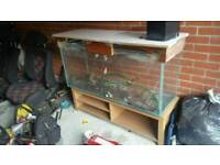 4ft fish tank with lid and stand ....thick glass water tight