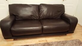 Real Leather 3-seater Sofa in dark brown