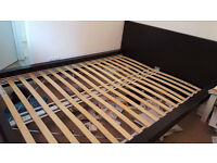 Malm black double bed frame