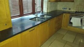 kitchen units, granite worktop, sink