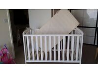 White baby cot with mattress plus everything for cot in very good condition.